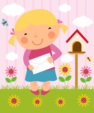 posting: illustration of a little girl posting letter