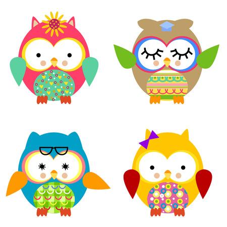Four cute owls Vector