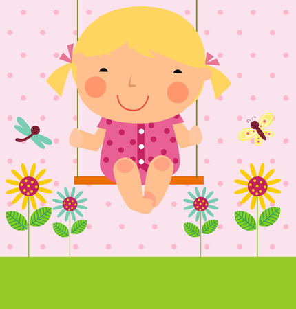 a little girl on swing Vector