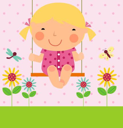 green cute: a little girl on swing