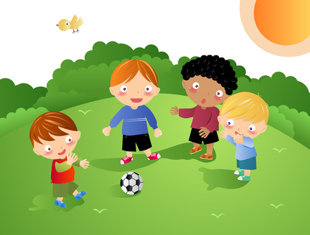 Kids Playing - Football Vector