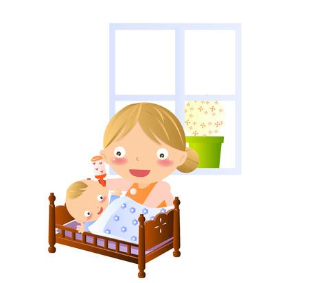 familia animada: Devoted madre hijo jugando un cuento antes de dormir en la cama