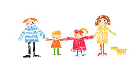 dessin enfants: famille - dessin d'enfant Illustration