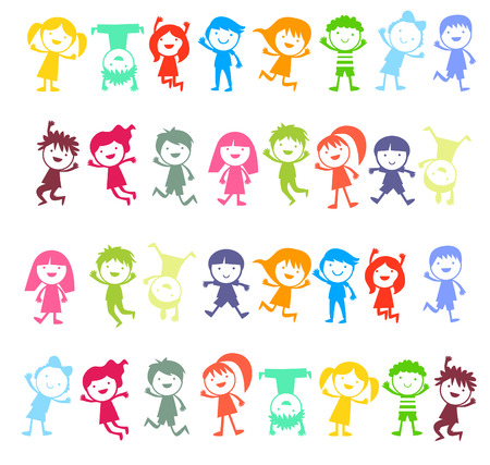 Gruppe Von Farbe Kinder Lizenzfrei Nutzbare Vektorgrafiken, Clip ...