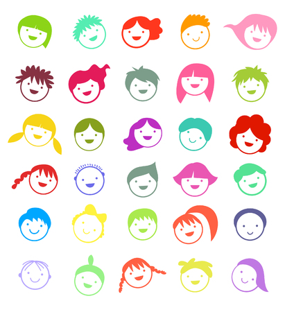 People face set Stock Illustratie