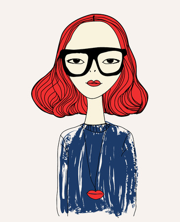 fashion sketch drawing girl Vector