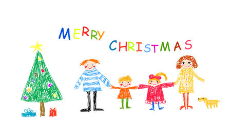 child drawing: Family with Merry Christmas Illustration