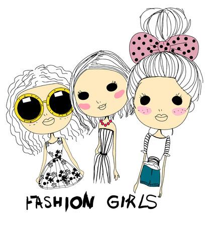 fashion schetstekening meisjes Stock Illustratie