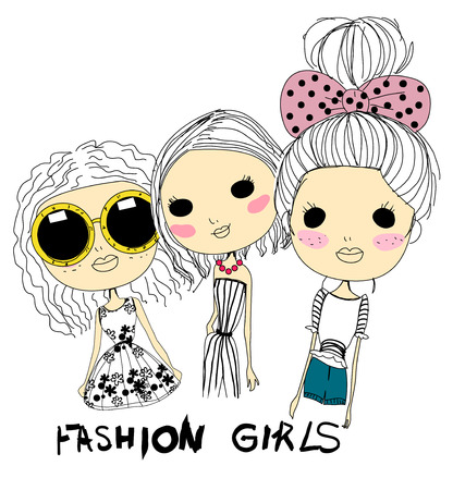 girls with bows: fashion sketch drawing girls