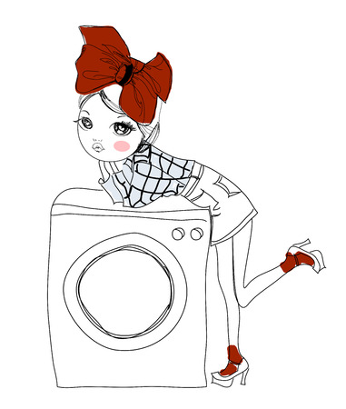 red haired girl: Girl and the washing machine Illustration