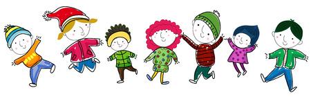 stick children: Group of winter children Illustration