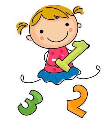 Little sketch girl and number Illustration