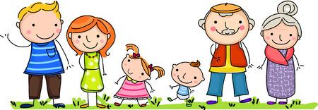 Gelukkig grote familie met kinderen Vector Illustratie