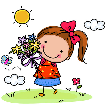 Little girl and flower Stock Illustratie