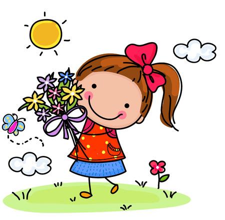 Little girl and flower Illustration