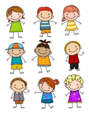 Groep schets kinderen