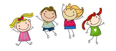 jumping happy kids Stock Illustratie