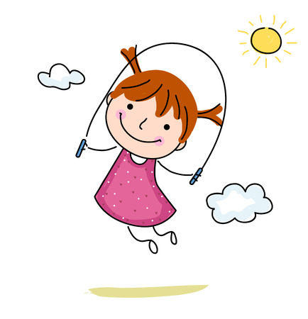 Little girl jumping rope