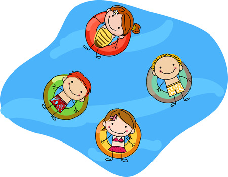 kids floating on inflatable rings Ilustrace