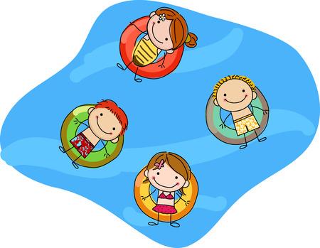 kids floating on inflatable rings Illustration