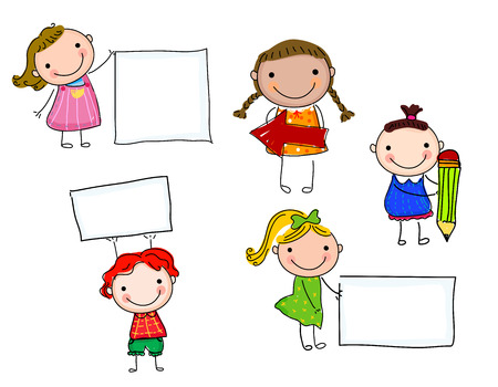 Children and banner Stock Illustratie