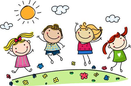 niños jugando en la escuela: saltando niños felices
