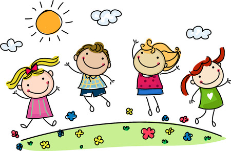 jumping happy kids Stock Illustratie