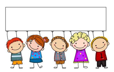 niños con pancarta: niños de dibujo con la bandera