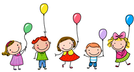 Kids and balloon Stock Illustratie