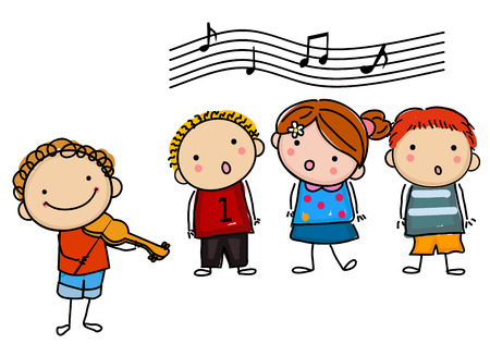 kids and music Stock Illustratie