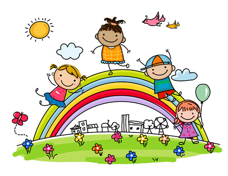 Sketch children and rainbow Stock Illustratie