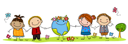 Niños y tierra felices Vectores
