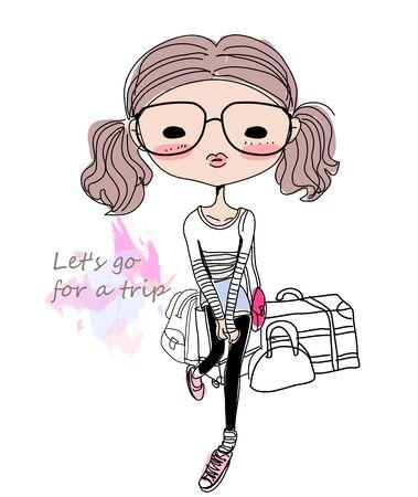 Chica de moda de esbozo
