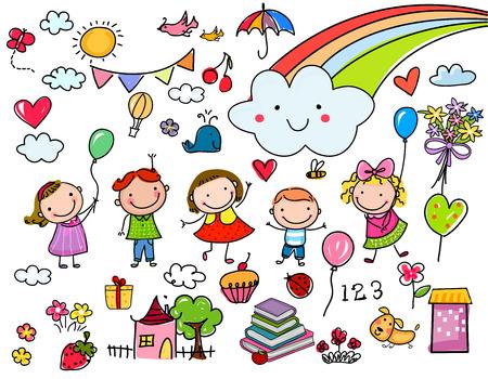 Sketch Kinder eingestellt Standard-Bild - 56481809