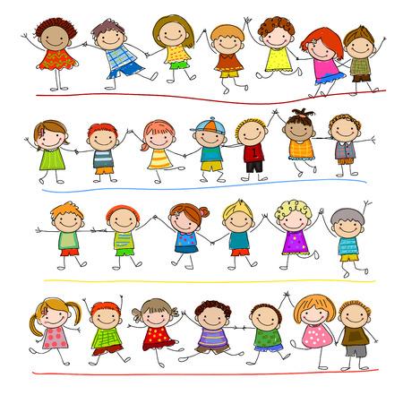friends having fun: Group of sketch kids