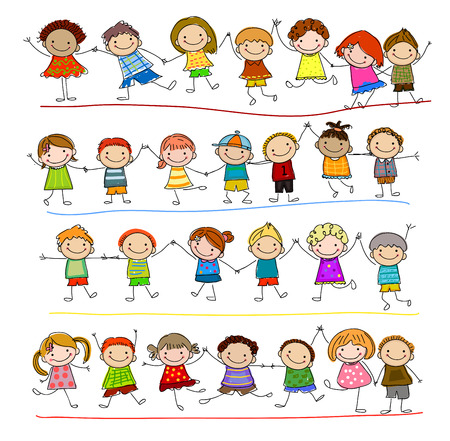 niños bailando: Grupo de niños de dibujo