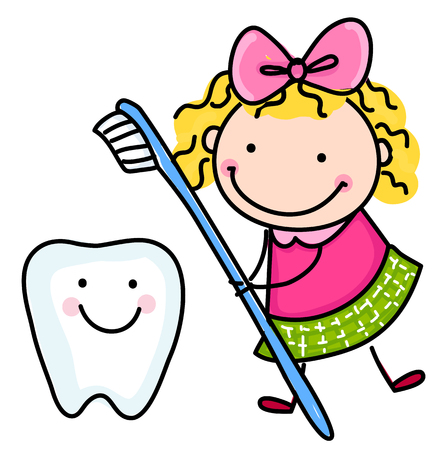 tooth fairy: Little girl and teeth Illustration