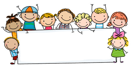 Sketch kids and banner Stock Illustratie