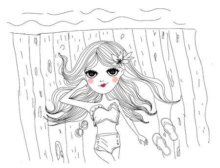bocetos de personas: Bosquejo de una muchacha