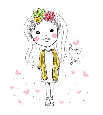 showgirl: Sketch pretty girl