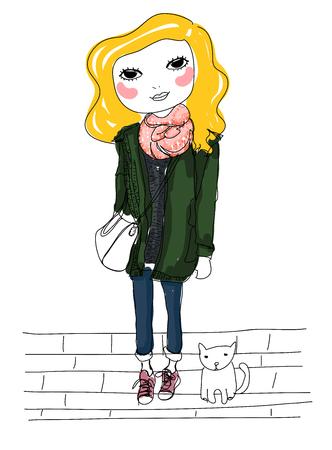 sketch: sketch girl Illustration