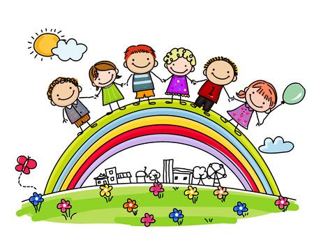 Sketch children and rainbow 일러스트