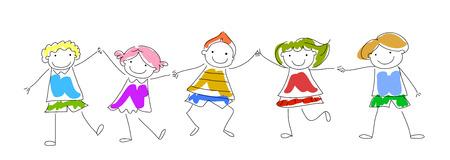bocetos de personas: Bosquejo de los niños Vectores