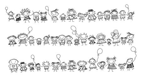 children s art: Group of sketch kids
