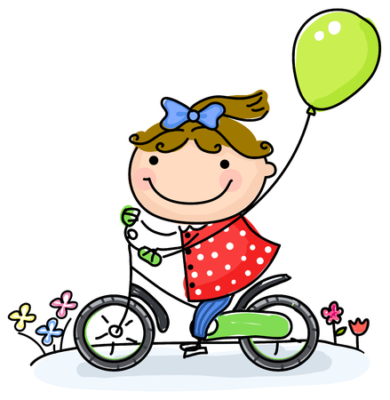 ridding: girl ridding   bicycle with balloon Illustration
