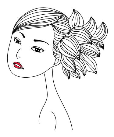 bocetos de personas: Bosquejo de la muchacha Vectores