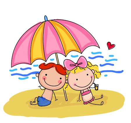 beach boy: Children on beach Illustration