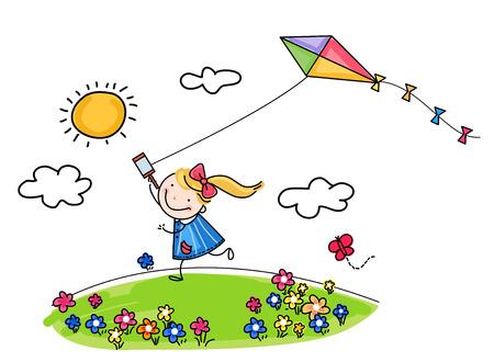 schattig meisje vliegende vlieger