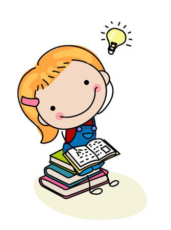 convivencia familiar: Libro de lectura de la muchacha linda Vectores