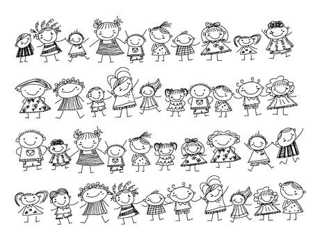 horizontal lines: Grupo de niños de dibujo
